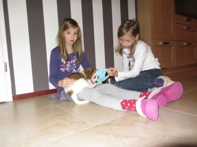 Quinty en Lisette met Leentje januari 2012