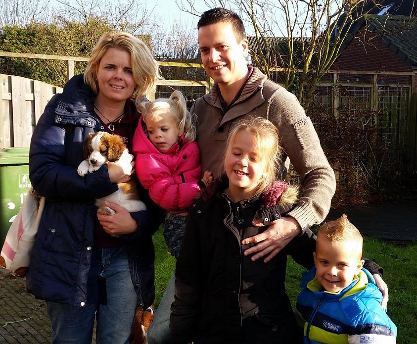 Mylo (Aky) met Joyce, Martijn, Fleur, Ben en Evi